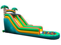 Inflatable Tropical Slide With Ball Pit Game