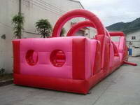 Full Color Red Inflatable Obstacle Course Race for Rentals