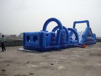 Full Color Blue Inflatable Obstacle Course Race for Sale