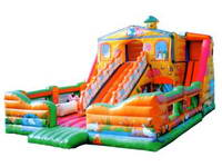 Inflatable Farm House With Multi Slide Track