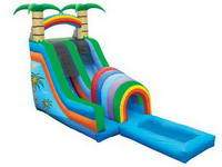 Tropical Super Splash Down Inflatable Rainbow Water Slide