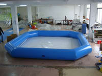Custom Light Blue Tubes Inflatable Pool with white bottom