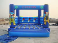 Full Color Blue Inflatable Circus Mini Jumping Castle