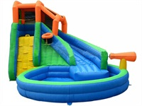 Inflatable Splash Water Park With Curve Slide