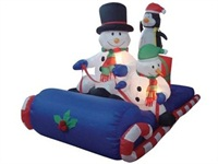 6 Foot Long Inflatable Christmas Snowmen Penguin Sitting on A Sleigh