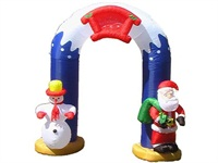 9 Foot Tall Inflatable Christmas Snowman and Santa Archway