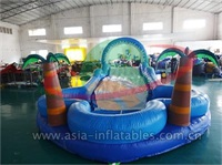 Inflatable Palm Tree Water Slide With Pool
