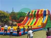 Warrior Race Inflatable Rainbow Multi Lane Slide
