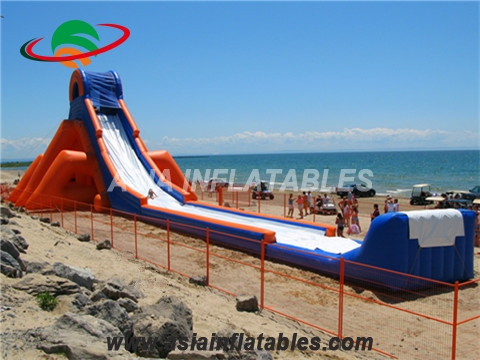 Giant inflatable triple lane water slide with slip n slide for adult