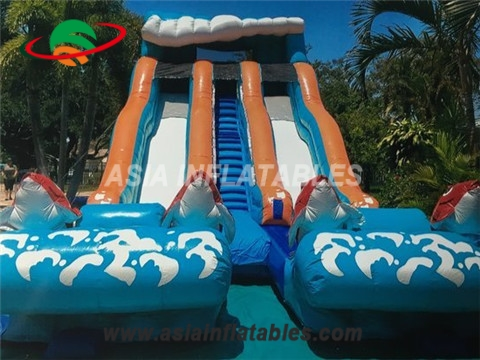 Adult and kids big kahuna inflatable water slide with double lane