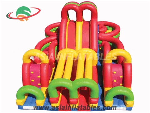 Inflatable Large-Scale Double Slide with Obstacle Course Fun City