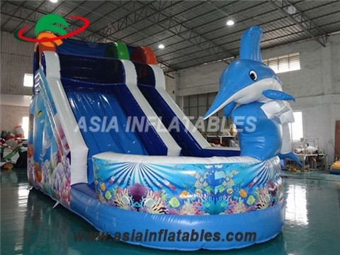 Blue Inflatable Shark Water Slide